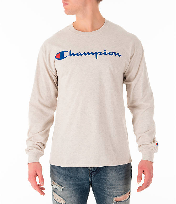 Front view of Men's Champion Script Long Sleeve T-Shirt in Oatmeal