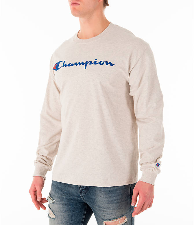 Front Three Quarter view of Men's Champion Script Long Sleeve T-Shirt in Oatmeal