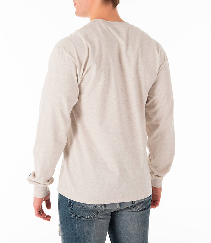 Back Left view of Men's Champion Script Long Sleeve T-Shirt in Oatmeal