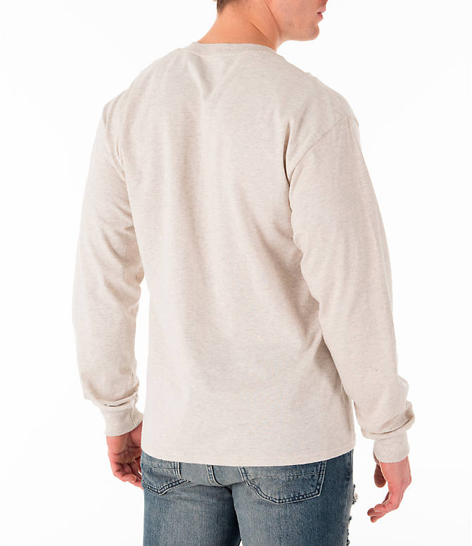 Back Right view of Men's Champion Script Long Sleeve T-Shirt in Oatmeal
