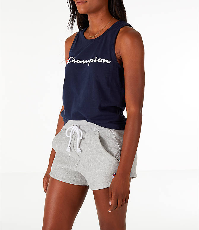 Front Three Quarter view of Women's Champion Graphic Tank in Navy