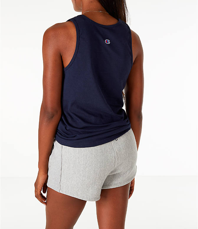 Back Left view of Women's Champion Graphic Tank in Navy