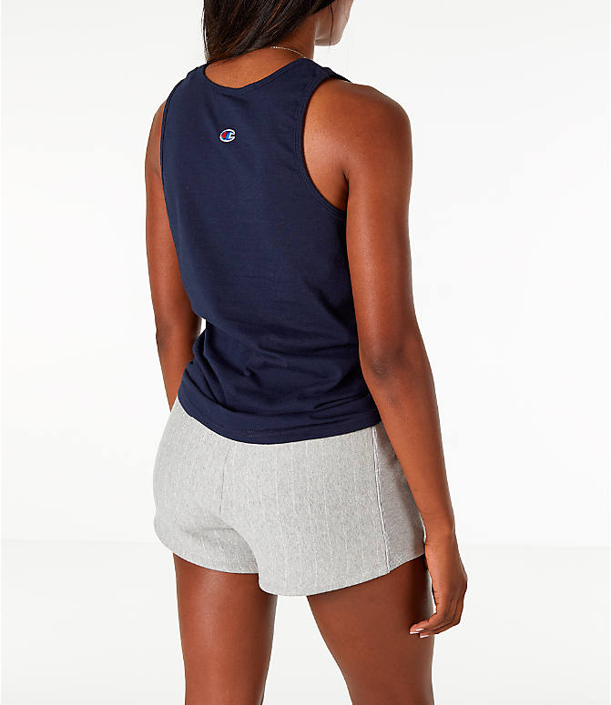 Back Right view of Women's Champion Graphic Tank in Navy