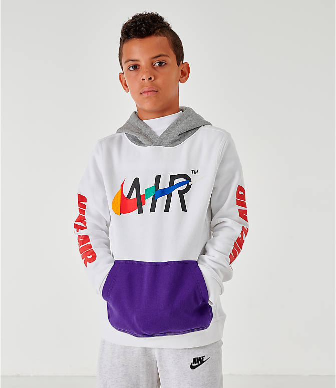 Front view of Kids' Nike Sportswear Club Fleece Game Changer Hoodie in White/Blue