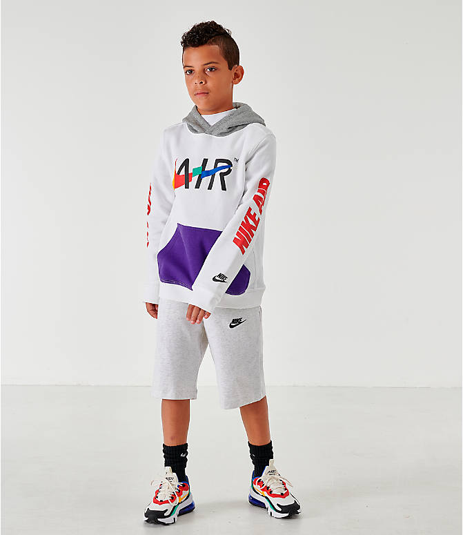 Front Three Quarter view of Kids' Nike Sportswear Club Fleece Game Changer Hoodie in White/Blue