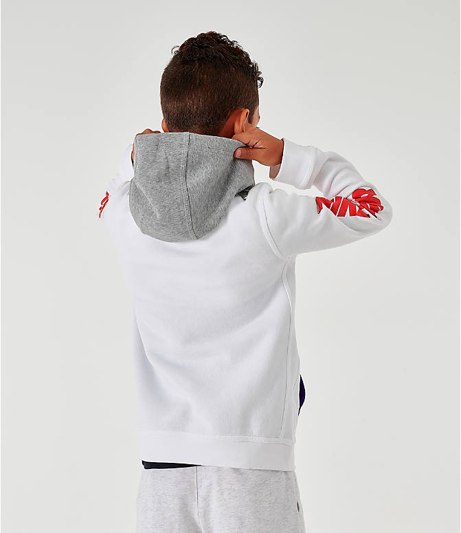 Back Left view of Kids' Nike Sportswear Club Fleece Game Changer Hoodie in White/Blue