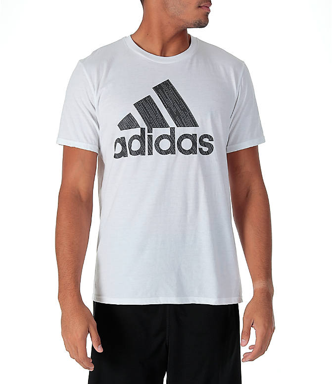 Front view of Men's adidas Badge of Sport Boost T-Shirt in White/Grey