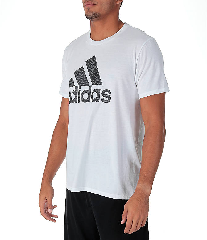 Front Three Quarter view of Men's adidas Badge of Sport Boost T-Shirt in White/Grey
