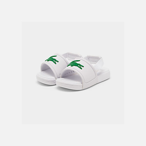 Three Quarter view of Boys' Toddler Lacoste L.30 Slide Sandals
