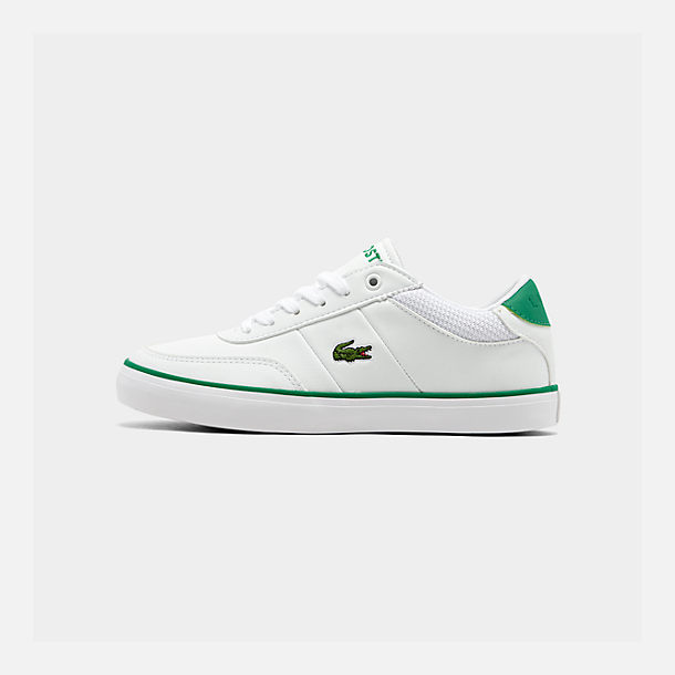 Right view of Boys' Big Kids' Lacoste Court-Master Casual Shoes in White/Green