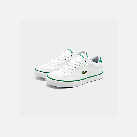 Three Quarter view of Boys' Big Kids' Lacoste Court-Master Casual Shoes in White/Green