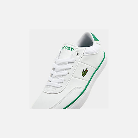 Front view of Boys' Big Kids' Lacoste Court-Master Casual Shoes in White/Green