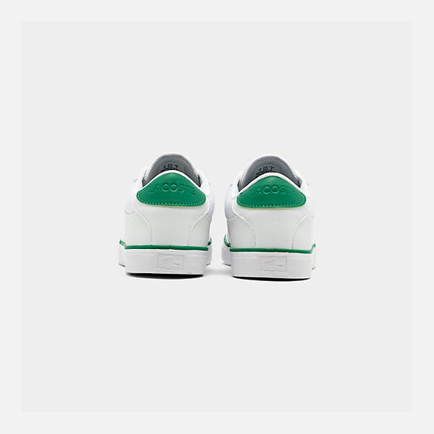 Left view of Boys' Big Kids' Lacoste Court-Master Casual Shoes in White/Green