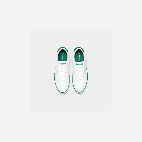 Back view of Boys' Big Kids' Lacoste Court-Master Casual Shoes in White/Green