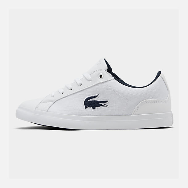 Right view of Boys' Big Kids' Lacoste Lerond Casual Shoes in White/Navy