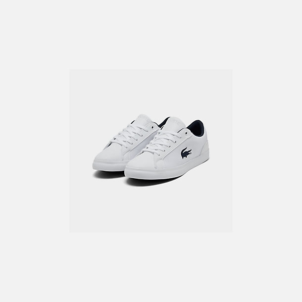 Three Quarter view of Boys' Big Kids' Lacoste Lerond Casual Shoes in White/Navy