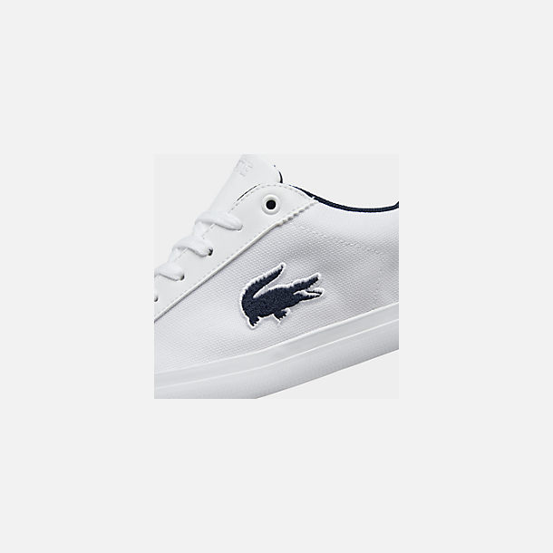 Front view of Boys' Big Kids' Lacoste Lerond Casual Shoes in White/Navy