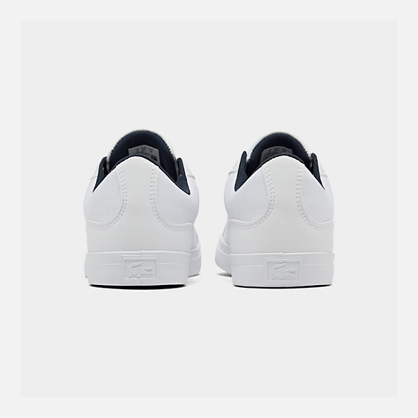 Left view of Boys' Big Kids' Lacoste Lerond Casual Shoes in White/Navy