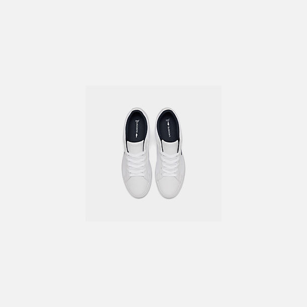 Back view of Boys' Big Kids' Lacoste Lerond Casual Shoes in White/Navy