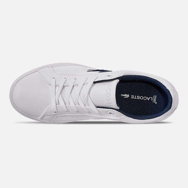 Top view of Boys' Big Kids' Lacoste Lerond Casual Shoes in White/Navy