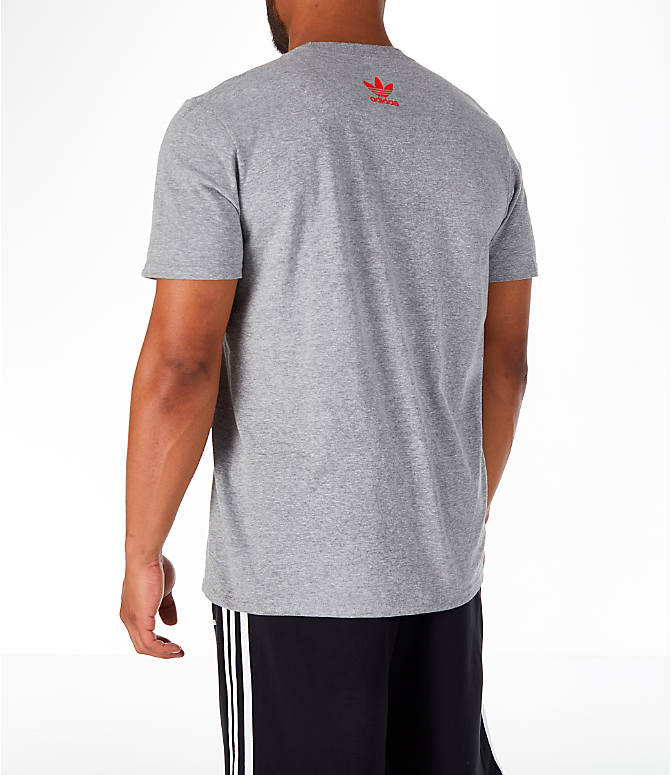 Back Left view of Men's adidas Originals OG Stacked T-Shirt in Grey