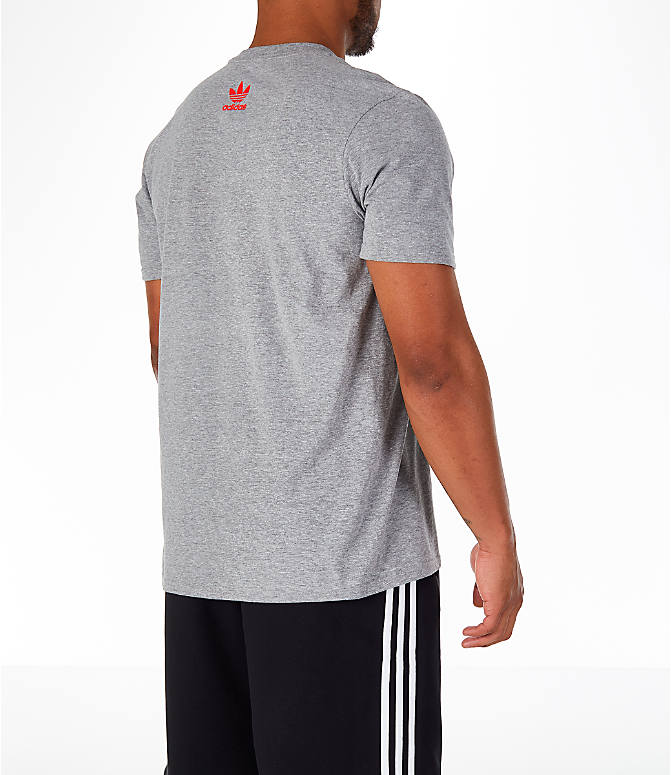 Back Right view of Men's adidas Originals OG Stacked T-Shirt in Grey