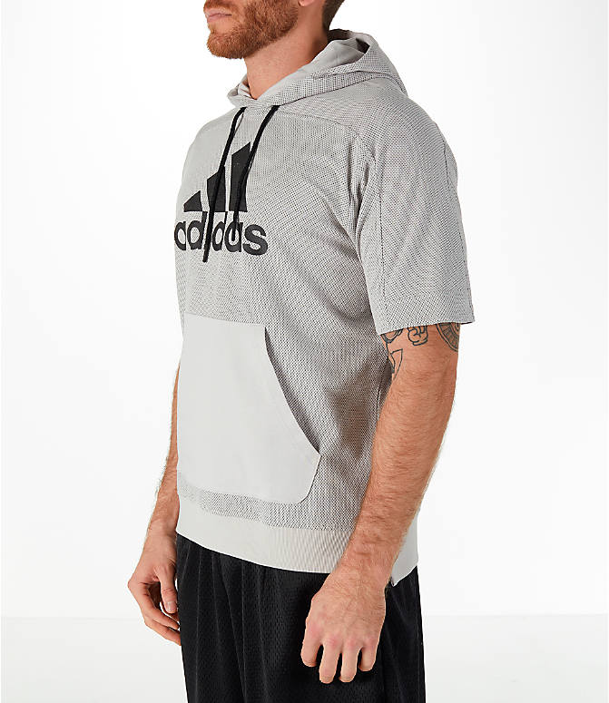 Front Three Quarter view of Men's adidas Sport Short-Sleeve Hoodie in Grey
