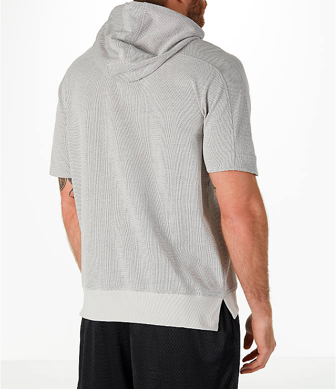 Back Right view of Men's adidas Sport Short-Sleeve Hoodie in Grey