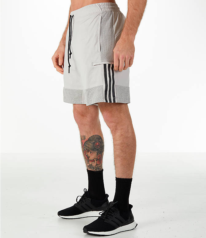 Front Three Quarter view of Men's adidas Sport SID Shorts in Grey