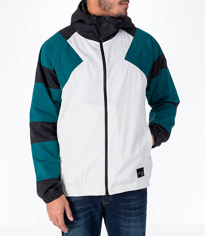 Front view of Men's adidas Originals EQT Windbreaker Jacket in White/Teal/Black