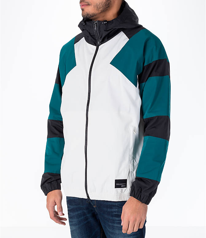 Front Three Quarter view of Men's adidas Originals EQT Windbreaker Jacket in White/Teal/Black