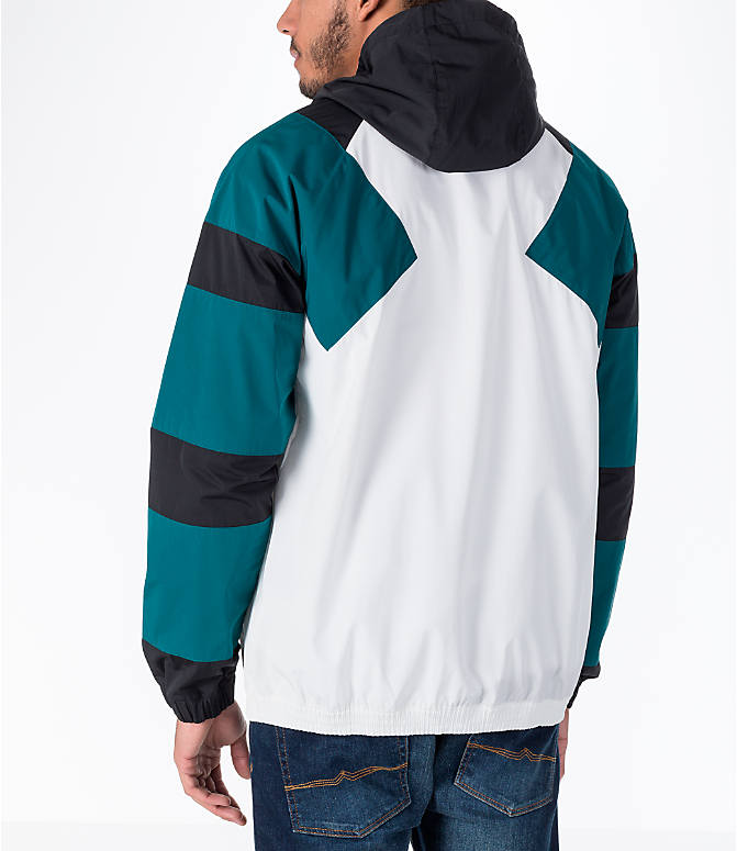 Back Left view of Men's adidas Originals EQT Windbreaker Jacket in White/Teal/Black