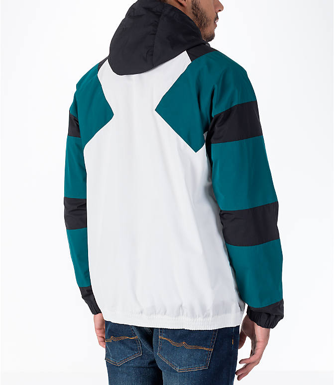 Back Right view of Men's adidas Originals EQT Windbreaker Jacket in White/Teal/Black