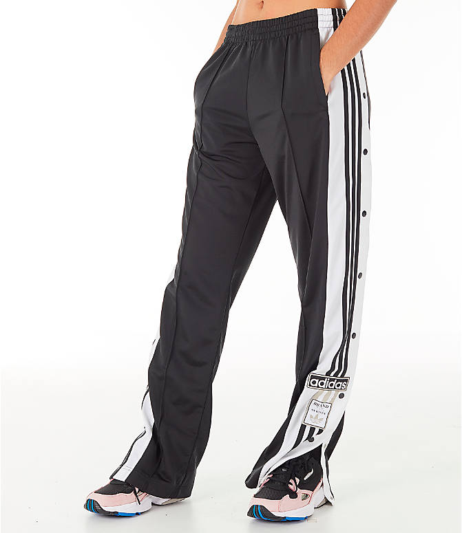 Front view of Women's adidas Originals AdiBreak Snap Track Pants in Black