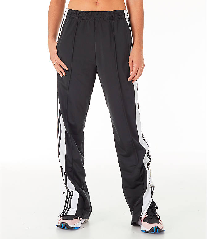 Front Three Quarter view of Women's adidas Originals AdiBreak Snap Track Pants in Black