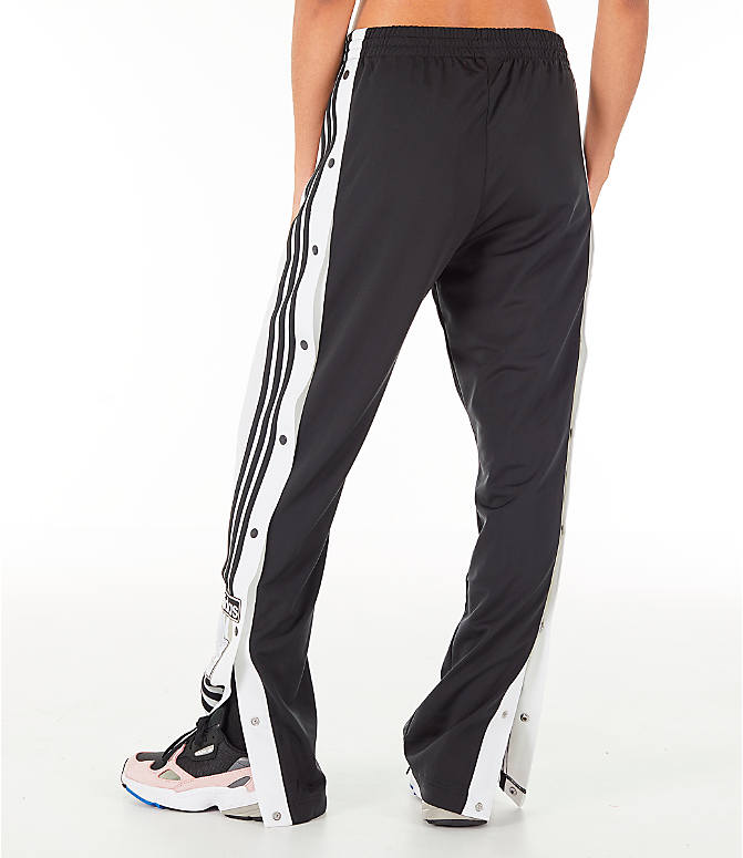 Back Left view of Women's adidas Originals AdiBreak Snap Track Pants in Black
