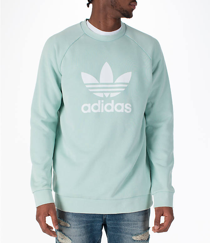 Front view of Men's adidas Originals adicolor OG Crew Sweatshirt in Ash Green/White