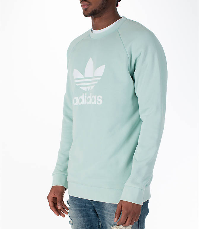 Front Three Quarter view of Men's adidas Originals adicolor OG Crew Sweatshirt in Ash Green/White