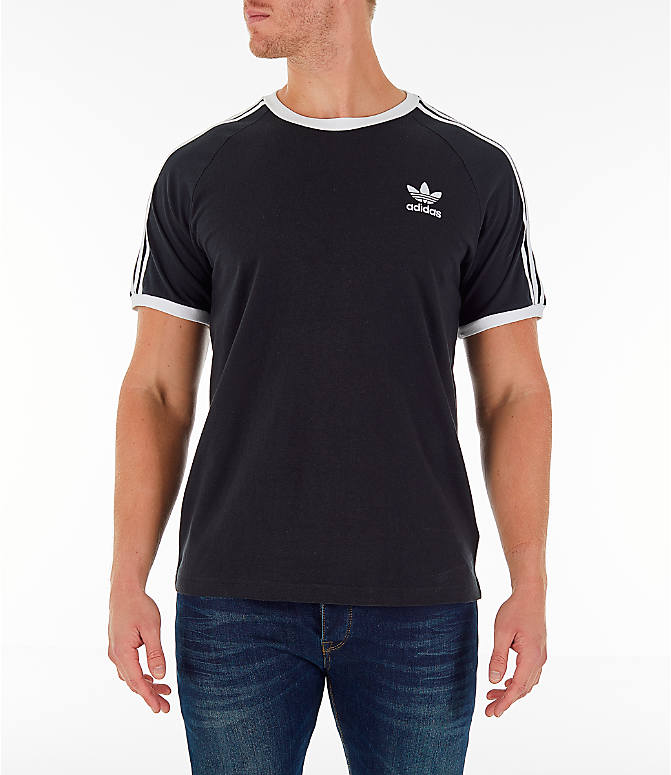 Front view of Men's adidas Originals adicolor 3-Stripe T-Shirt in Black