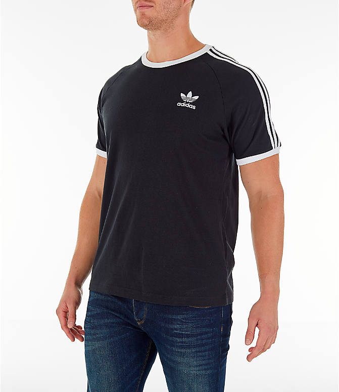 Front Three Quarter view of Men's adidas Originals adicolor 3-Stripe T-Shirt in Black