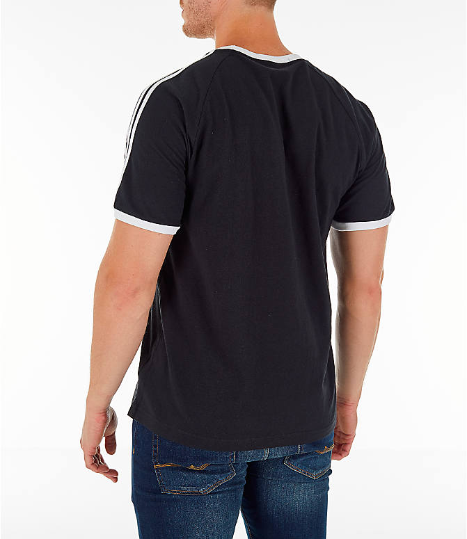 Back Left view of Men's adidas Originals adicolor 3-Stripe T-Shirt in Black