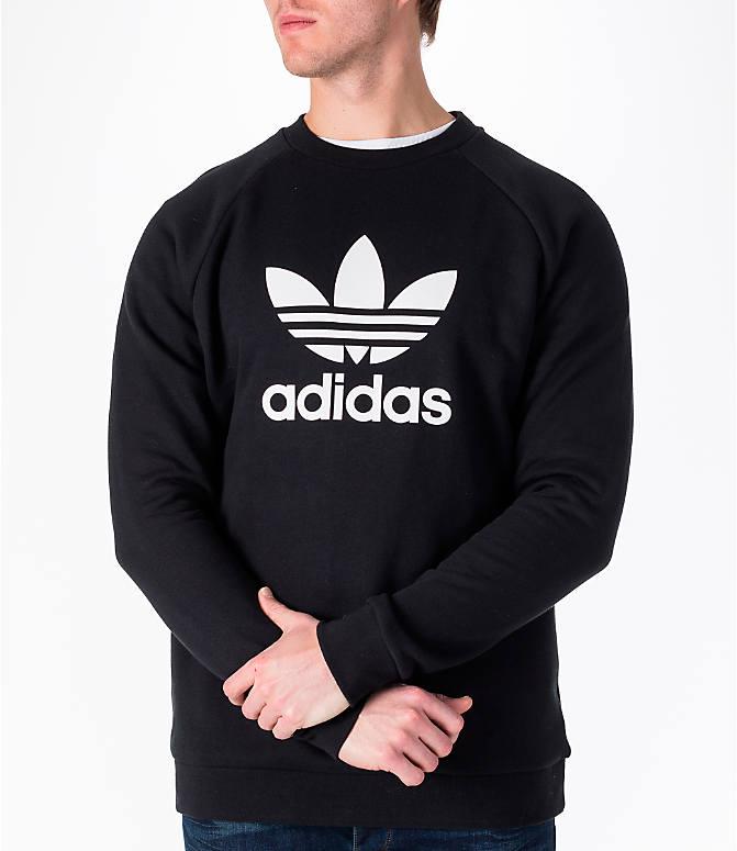 Detail 2 view of Men s adidas Originals adicolor OG Crew Sweatshirt in Black  White 643ca20270