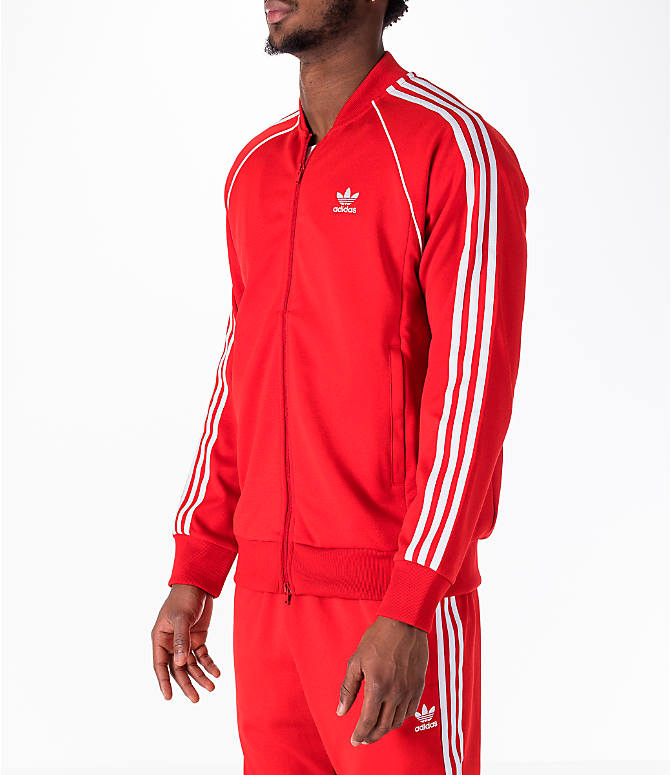 Front Three Quarter view of Men's adidas Originals adicolor Superstar Track Jacket in Red