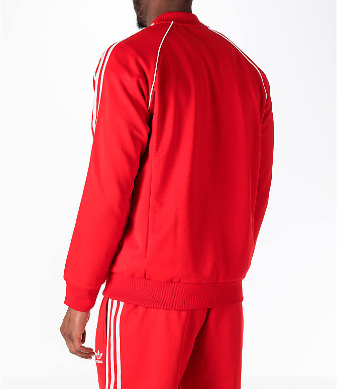 Back Left view of Men's adidas Originals adicolor Superstar Track Jacket in Red