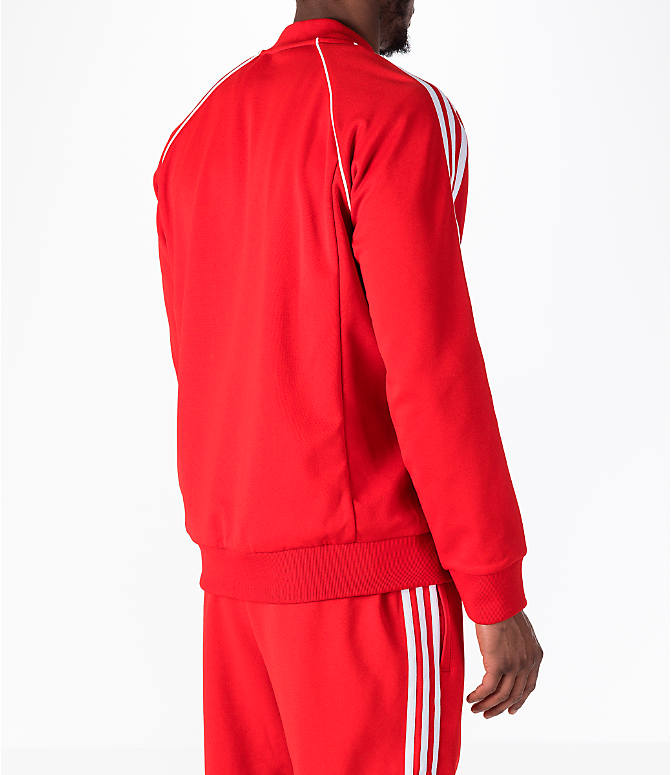 Back Right view of Men's adidas Originals adicolor Superstar Track Jacket in Red