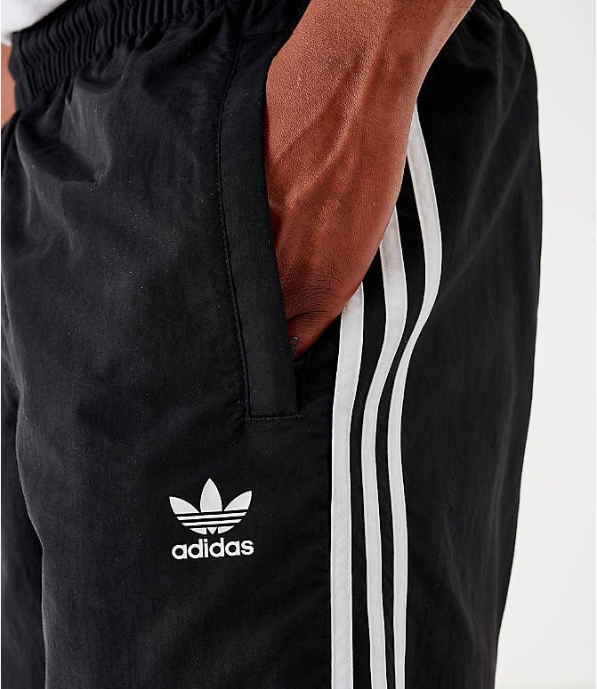 Back Right view of Men's adidas Originals 3-Stripes Swim Shorts in Black