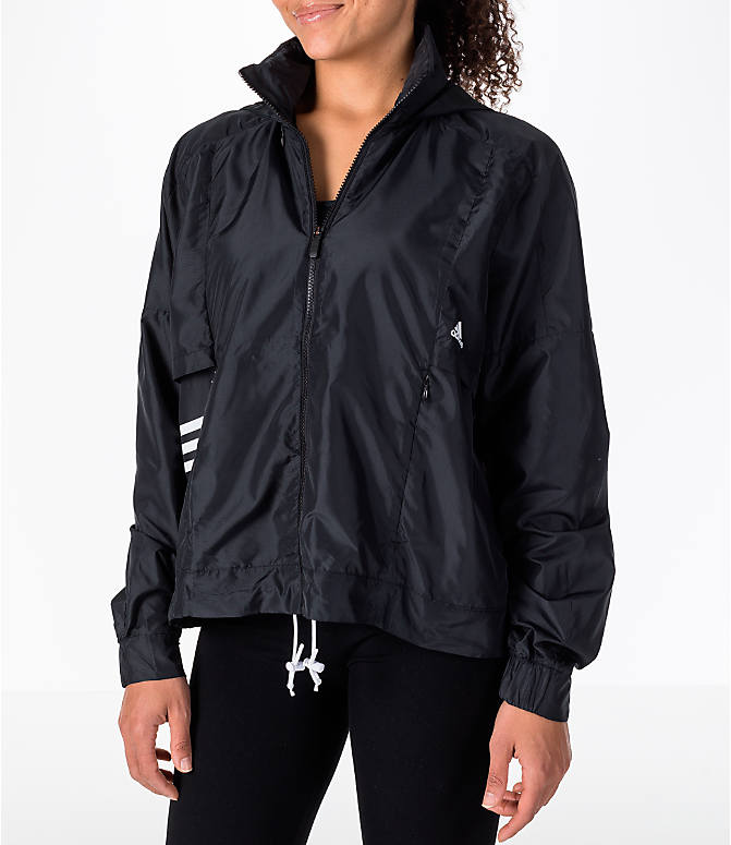 Front view of Women's adidas Athletics ID Windbreaker Jacket in Black/White