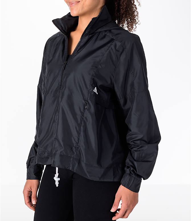 Front Three Quarter view of Women's adidas Athletics ID Windbreaker Jacket in Black/White