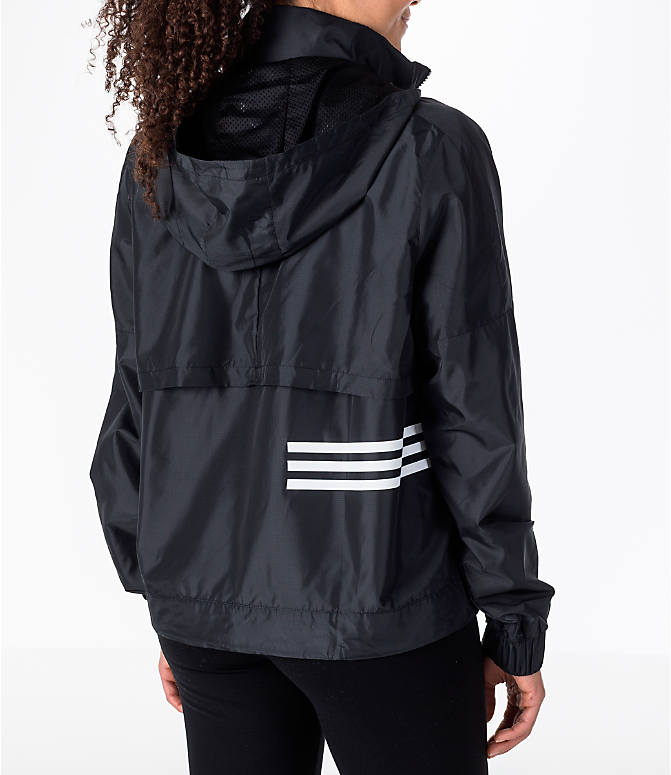 Back Right view of Women's adidas Athletics ID Windbreaker Jacket in Black/White