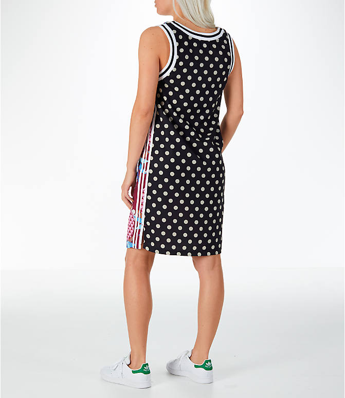 Back Left view of Women's adidas Originals Tank Dress in Multicolor